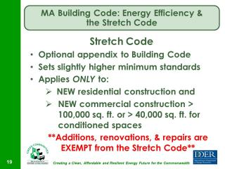 Stretch Code is the optional appendix to the Building Code.