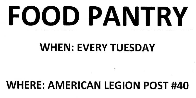 American Legion Food Pantry Every Tuesday 11-1